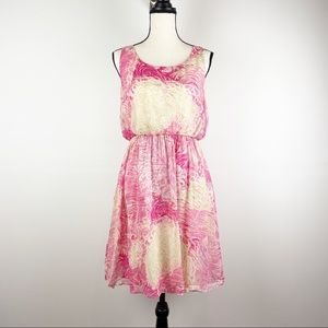 NWT Anthropologie Postmark Pink Silk Dress Sz 4